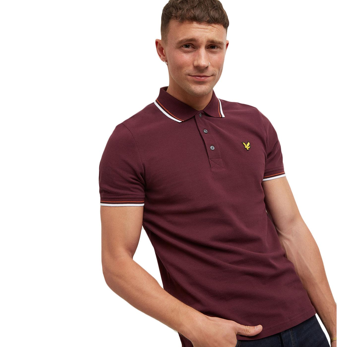 LYLE & SCOTT Men's Mod Tipped Pique Polo BURGUNDY