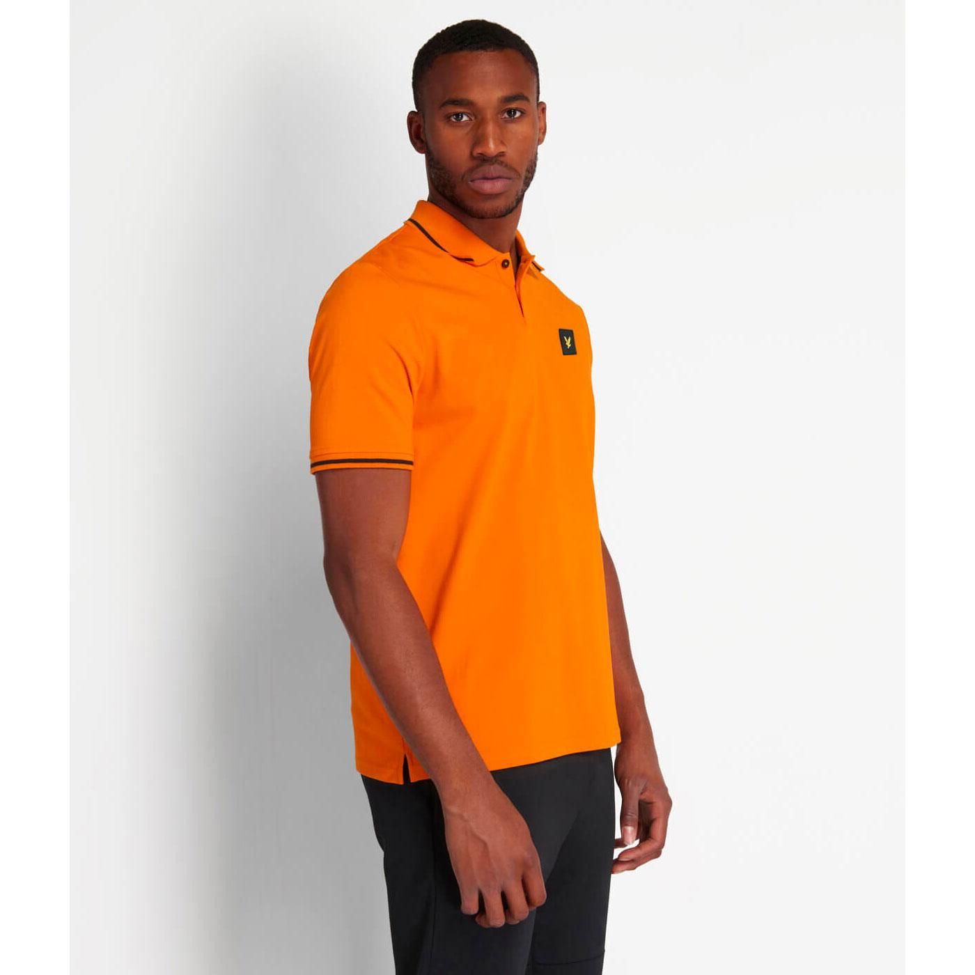 LYLE & SCOTT Mod Casuals 80s Tipped Polo in Orange