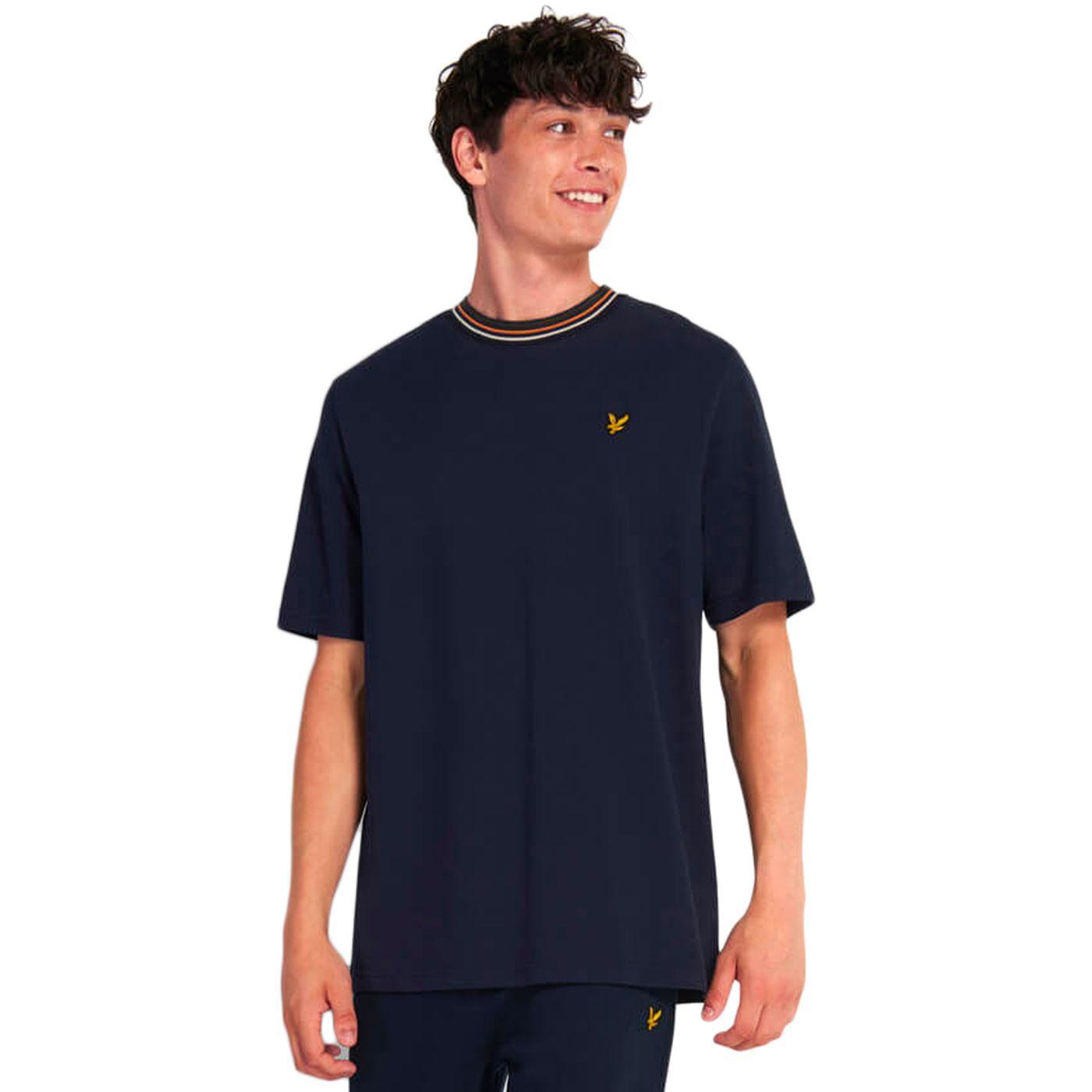 LYLE & SCOTT Retro Mod Tipped T-Shirt in Dark Navy