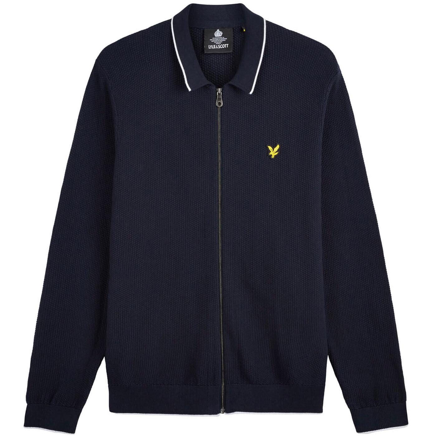 LYLE AND SCOTT Waffle Knit Tipped Polo Cardigan DN
