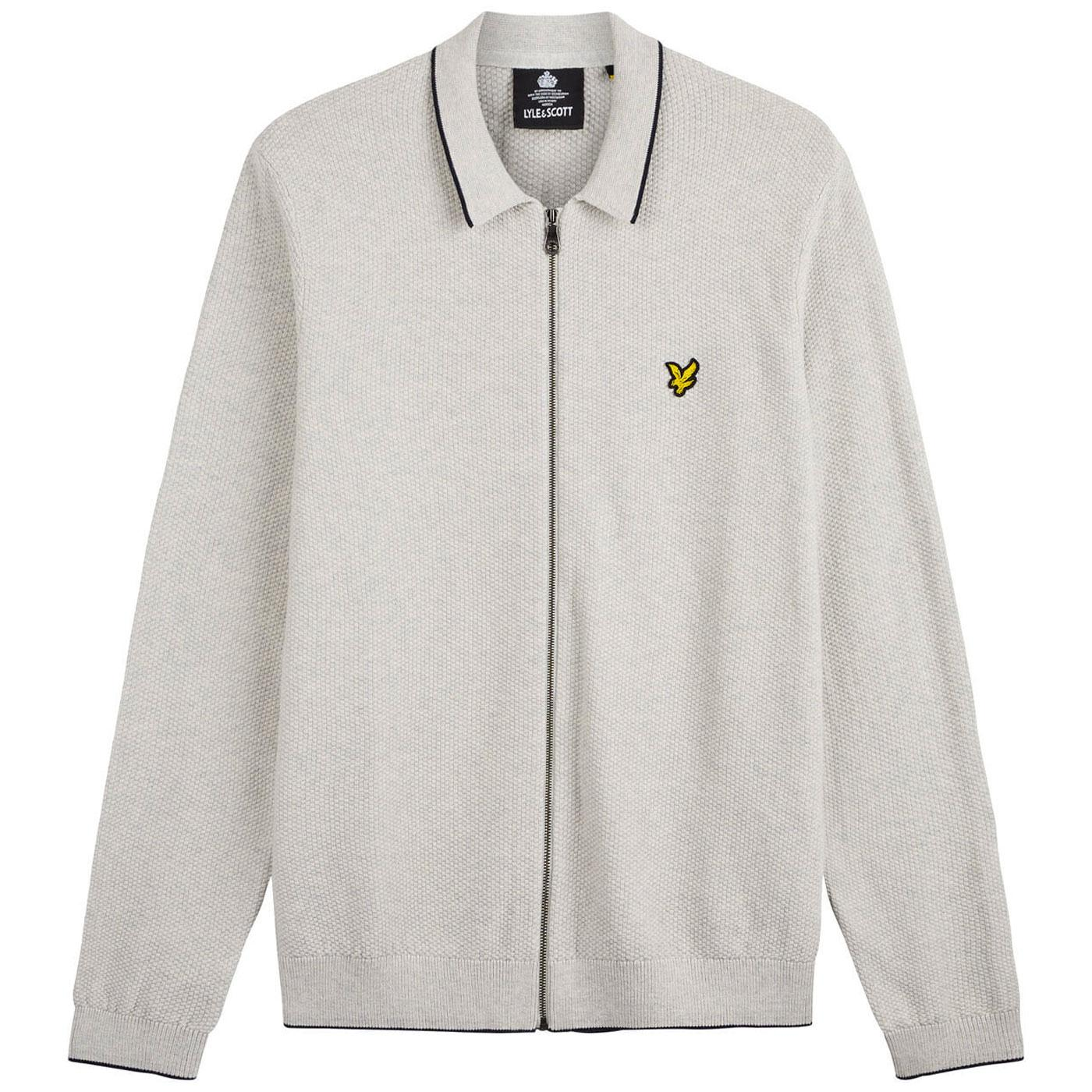 LYLE AND SCOTT Waffle Knit Tipped Polo Cardigan LG