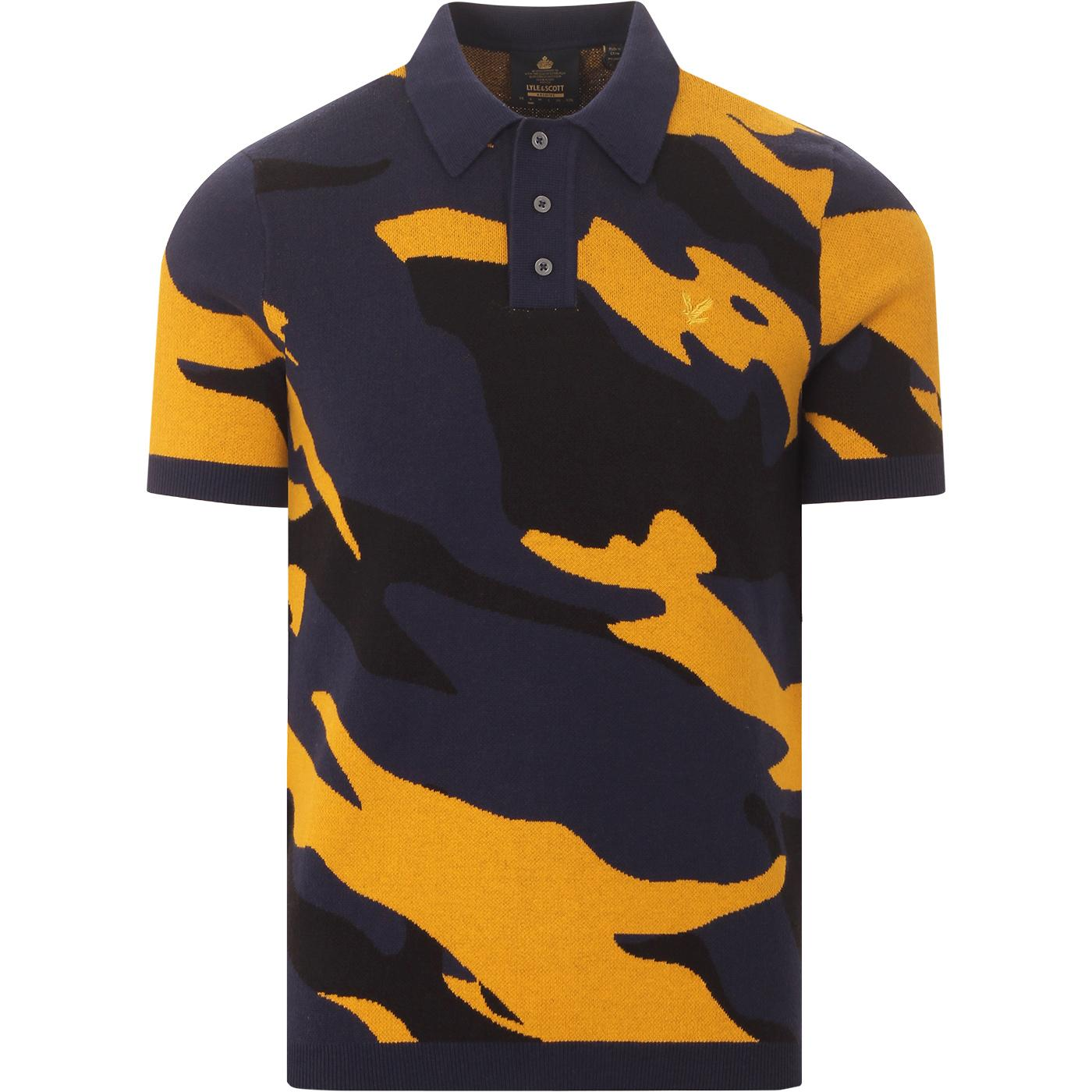 LYLE & SCOTT Archive Abstract Jacquard Polo Top