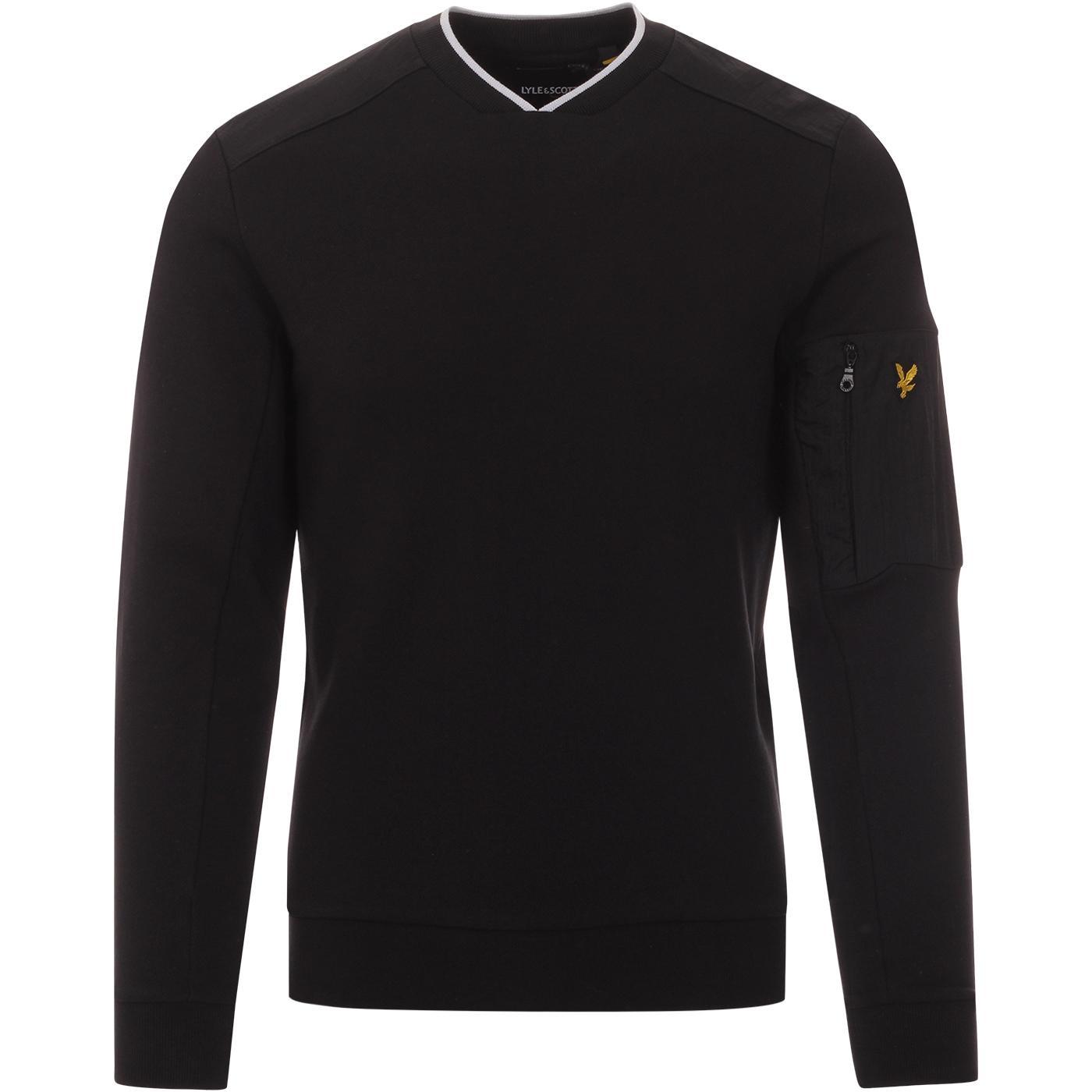 LYLE & SCOTT Nylon Panel Casuals Sweatshirt BLACK