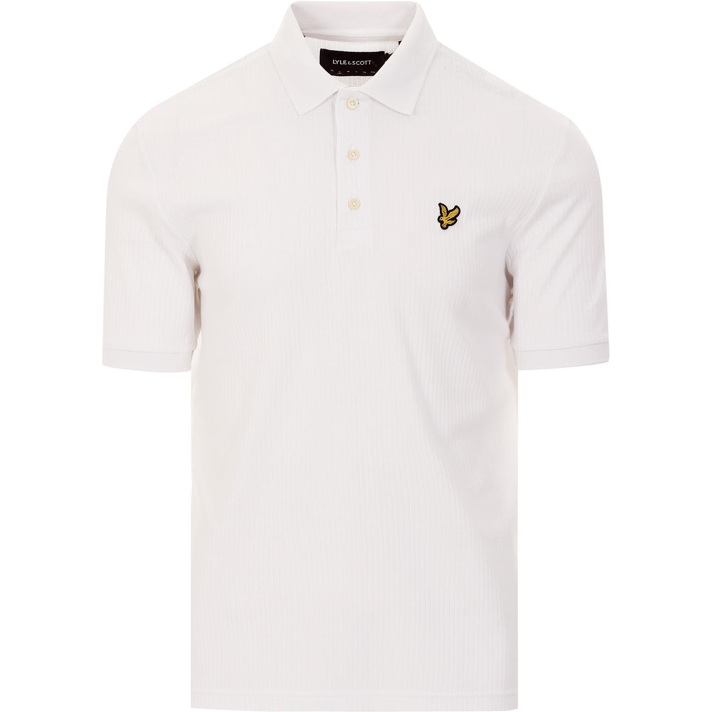 LYLE & SCOTT Retro Mod Ribbed Jersey Polo (White)