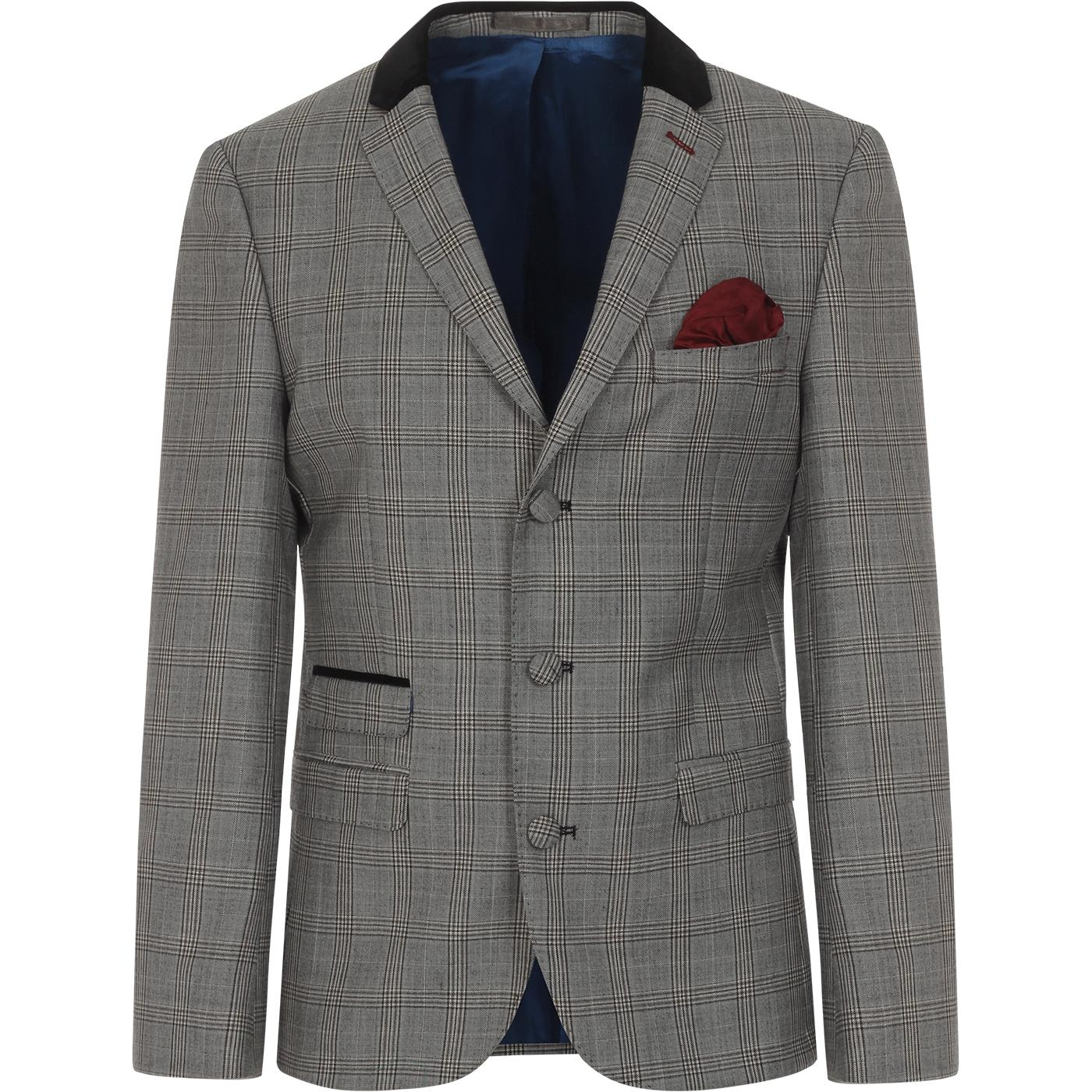 MADCAP ENGLAND Mod Pow Check Velvet Collar Blazer