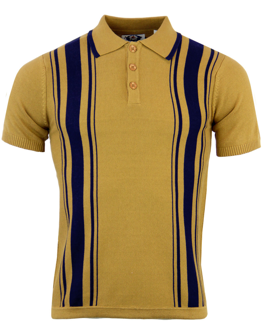 MADCAP ENGLAND Aftermath Retro 1960s Mod Knitted Stripe Polo Top