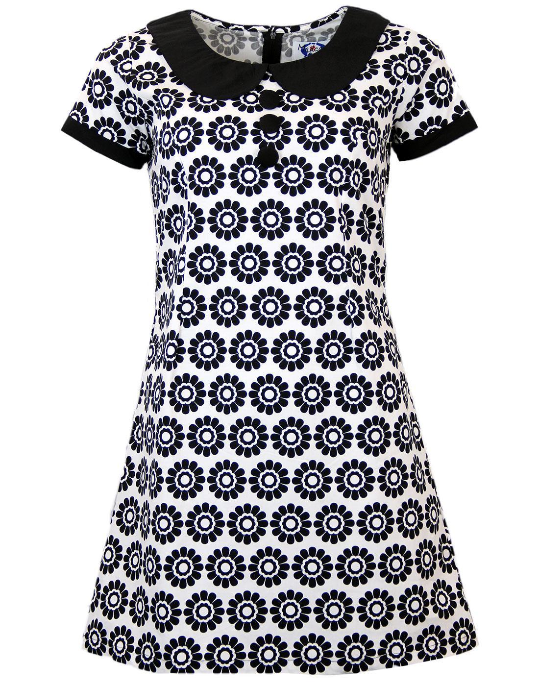 NEW RETRO SIXTIES INDIE MOD MINI DRESS 60s Vintage BLACK COLLAR DAISY MC146