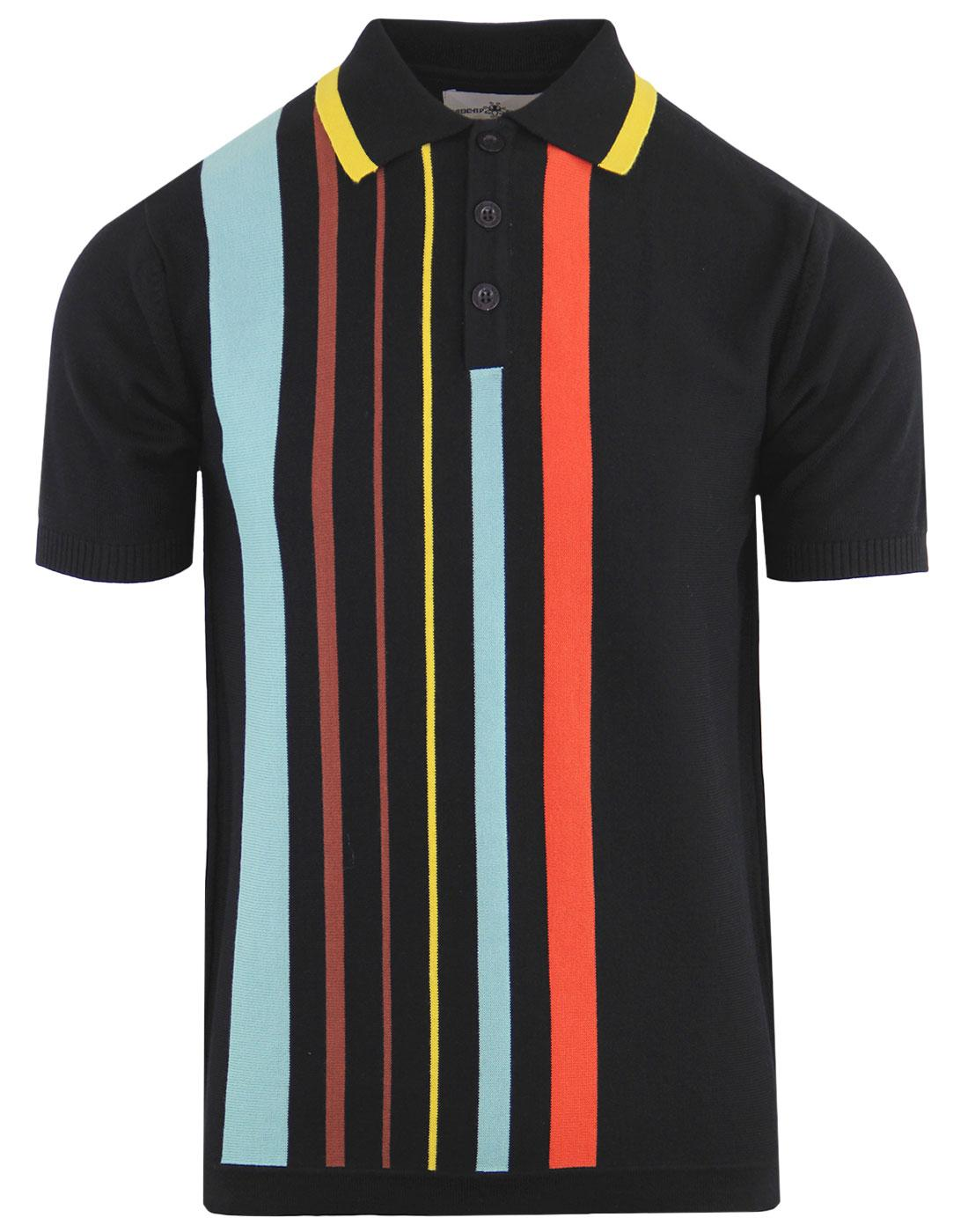 Bauhaus MADCAP ENGLAND Mod Stripe Knit Polo BLACK