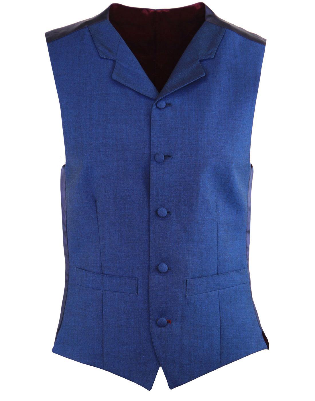 MADCAP ENGLAND 60s Mod Mohair Tonic Waistcoat BLUE