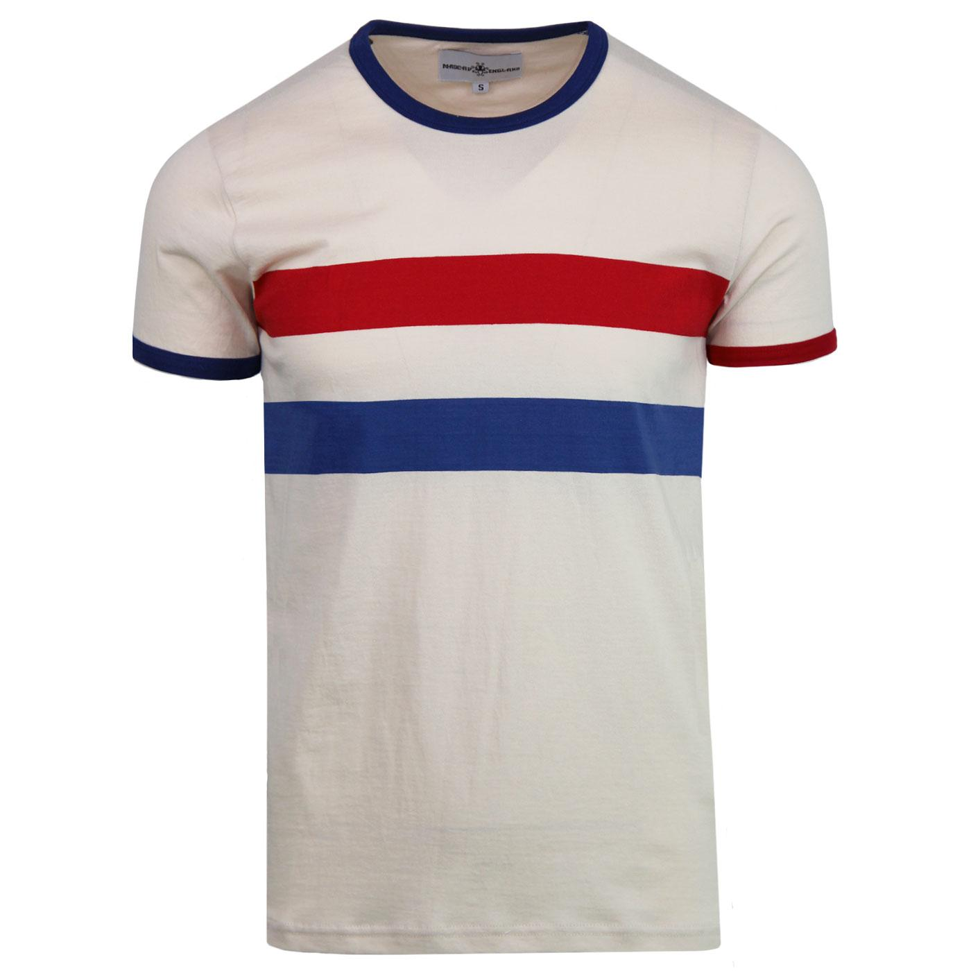 Bedford MADCAP ENGLAND Retro Mod Chest Stripe Tee