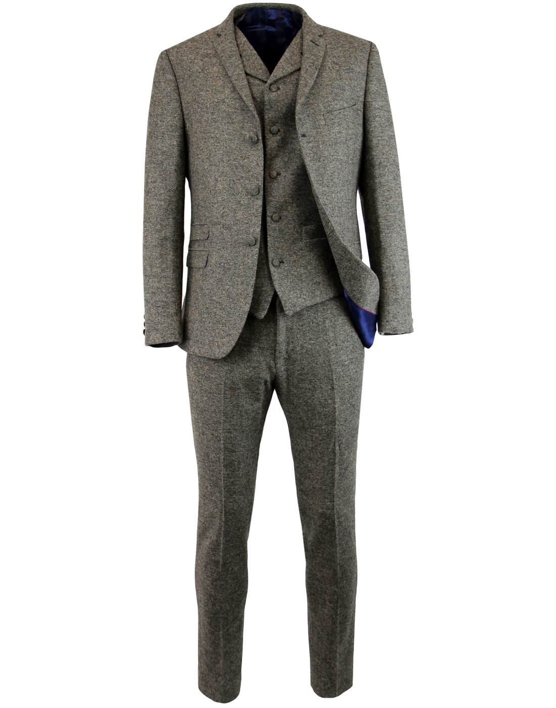 MADCAP ENGLAND Retro Mod 2 or 3 Piece Donegal Suit
