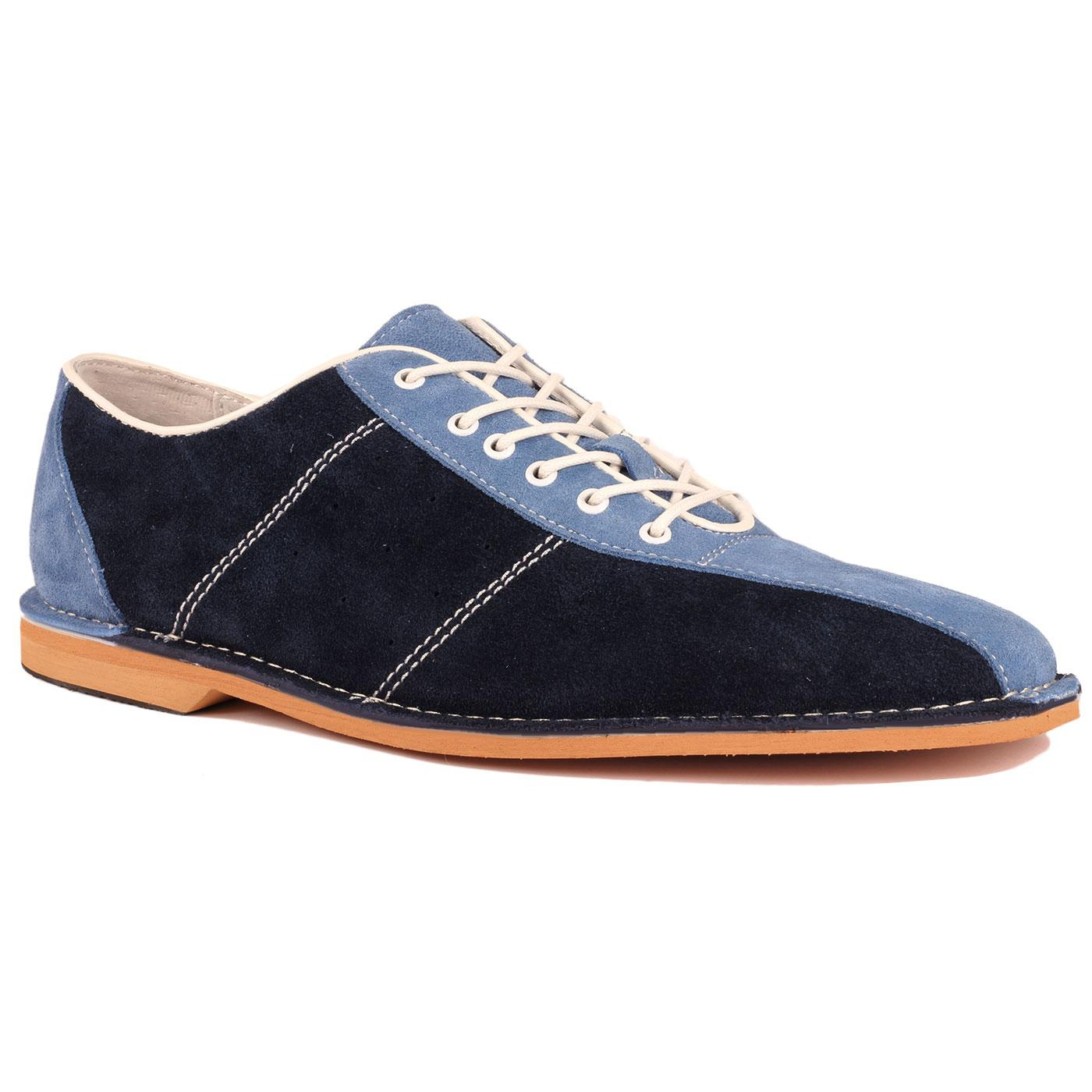 All Up MADCAP ENGLAND Mod Suede Bowling Shoes NAVY