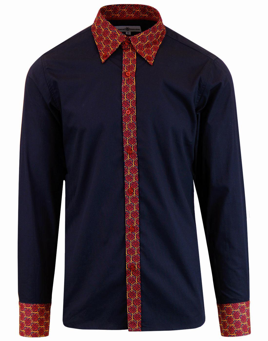 Costello MADCAP ENGLAND 60s Mod Floral Trim Shirt