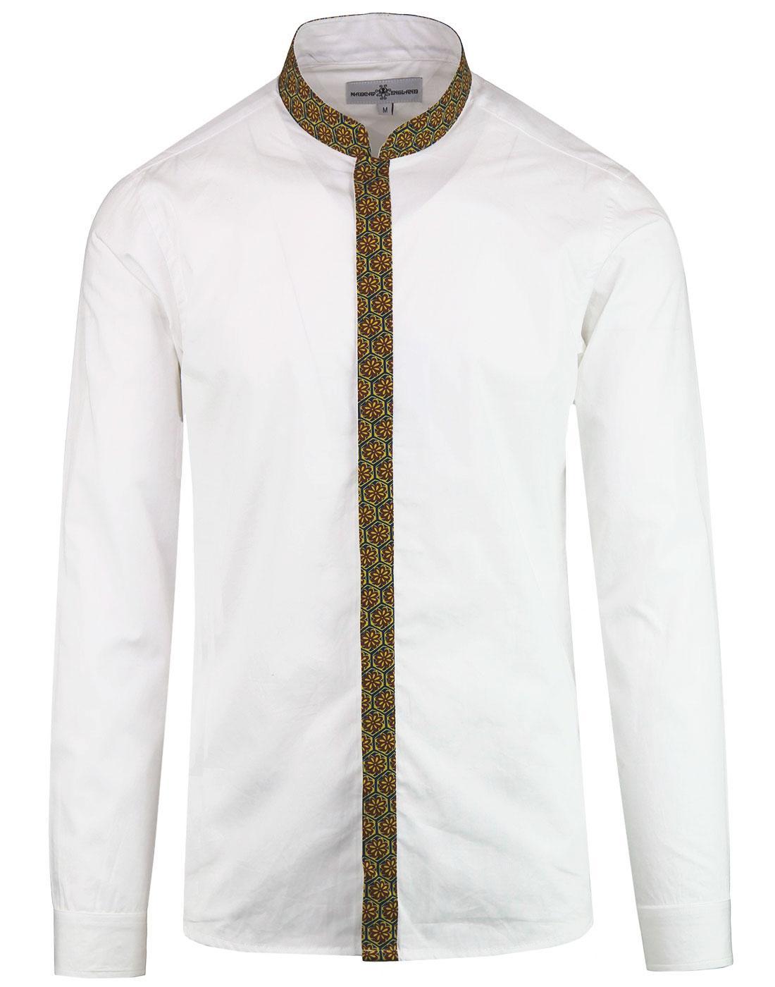 Azimuth MADCAP ENGLAND Floral Trim Grandad Shirt