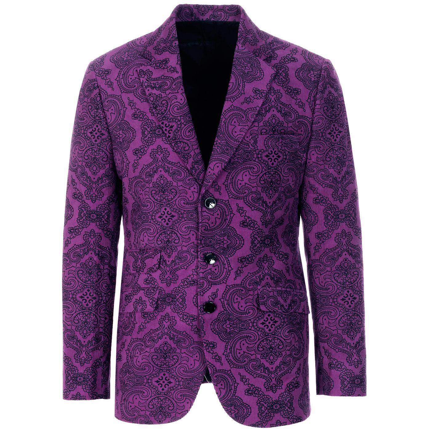 Purple Paisley Rave MADCAP ENGLAND 60s Cord Blazer