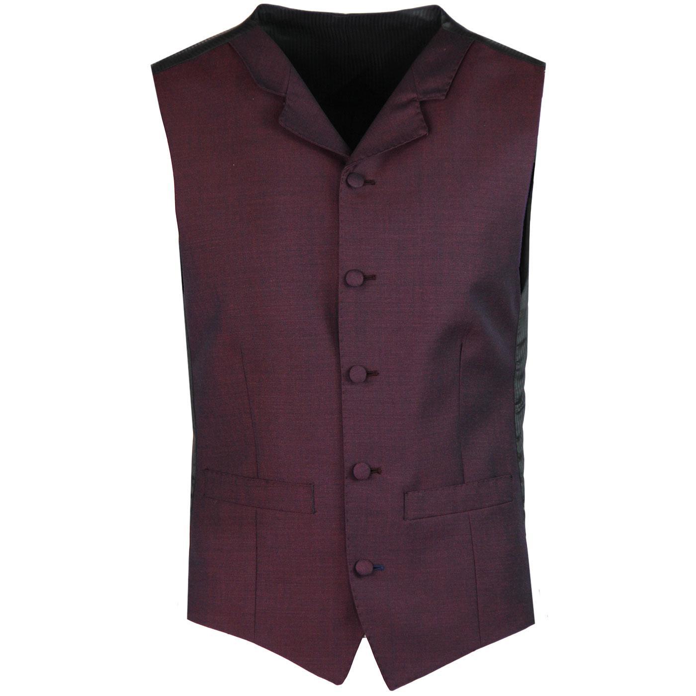 MADCAP ENGLAND Mod Mohair Tonic Waistcoat BURGUNDY