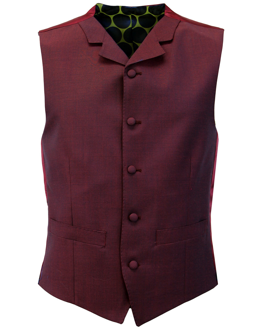 MADCAP ENGLAND Mod Mohair Burgundy Tonic Waistcoat