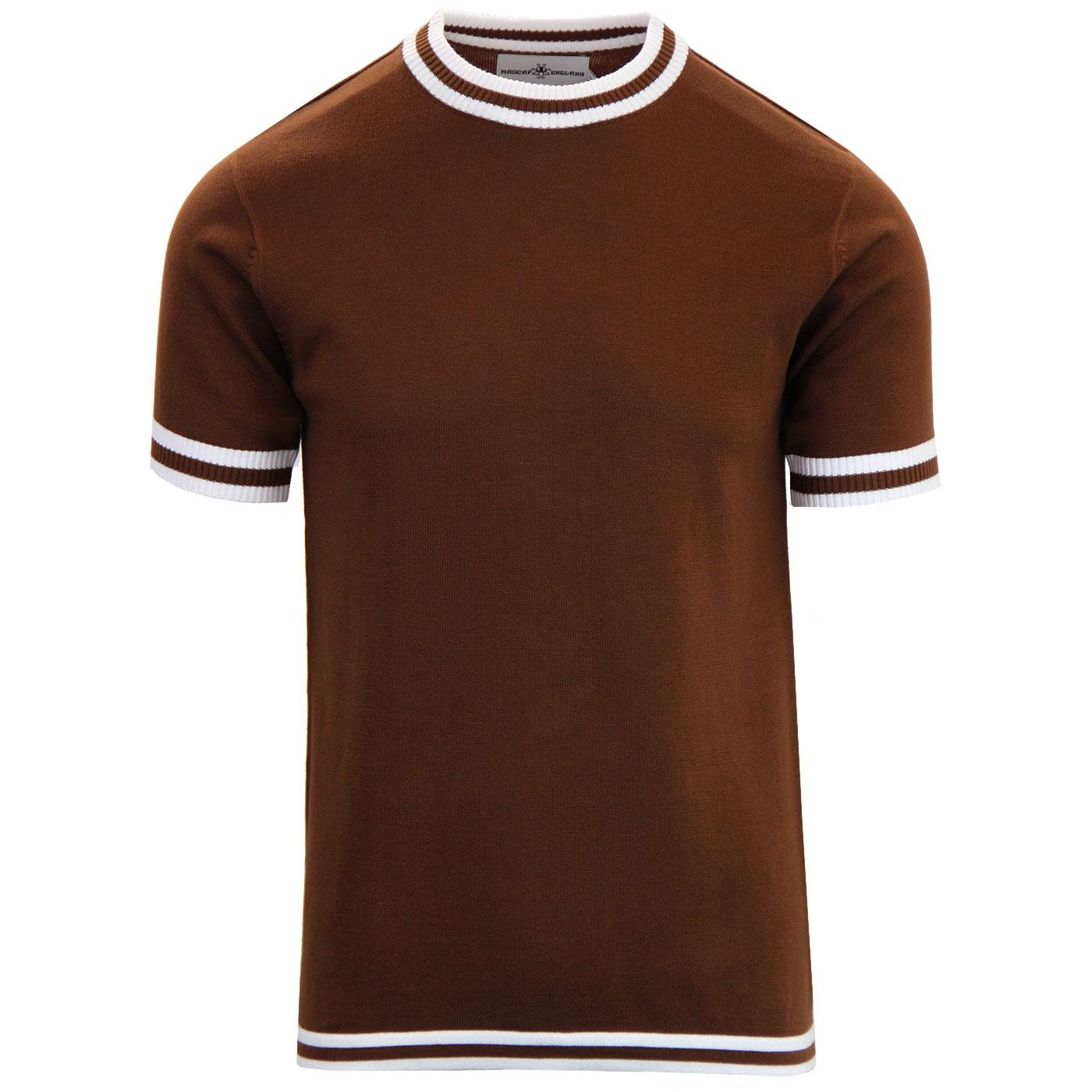 Moon MADCAP ENGLAND 60s Mod Tipped Knit Tee BISON