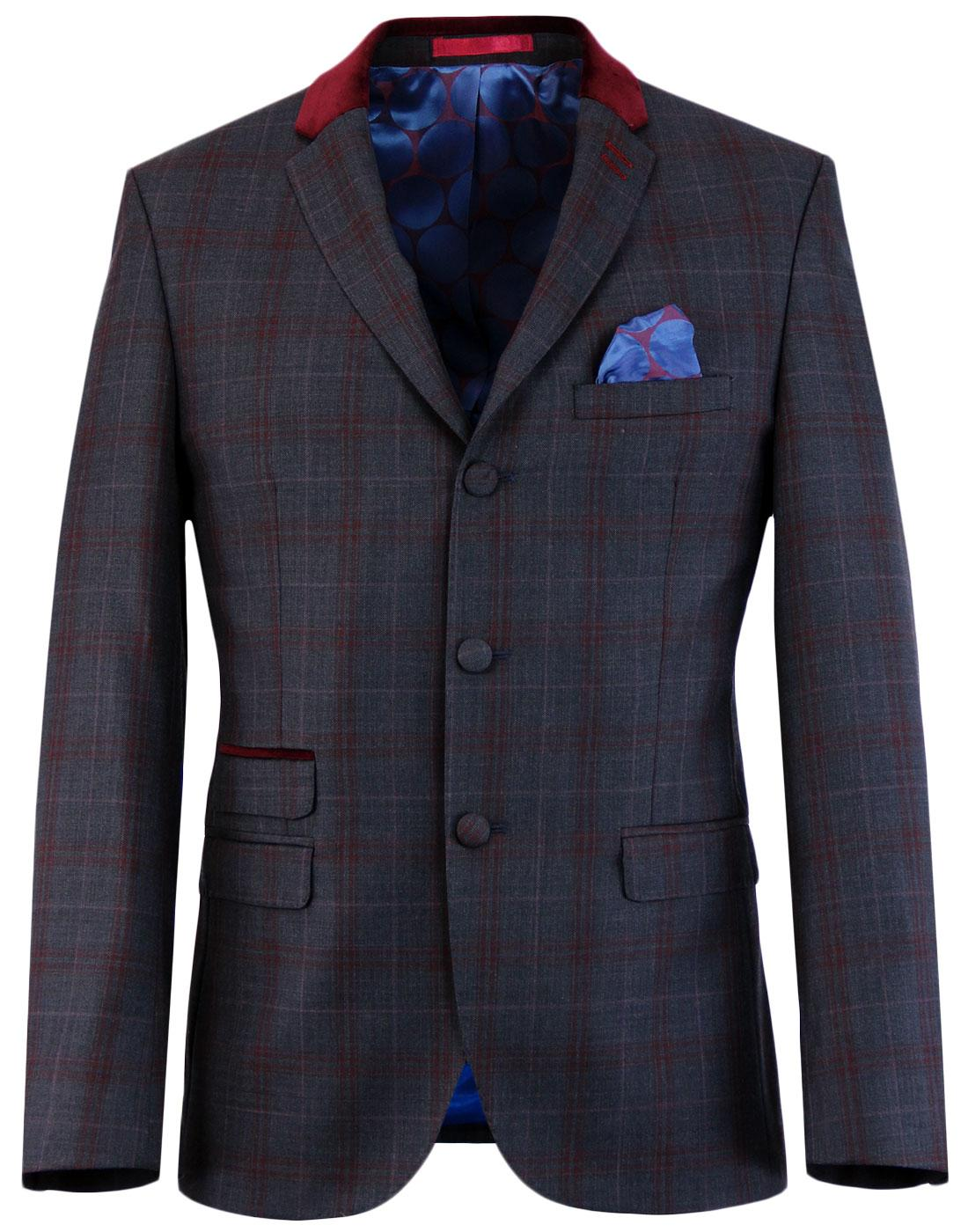 MADCAP ENGLAND Mod Velvet Collar Check Suit Jacket