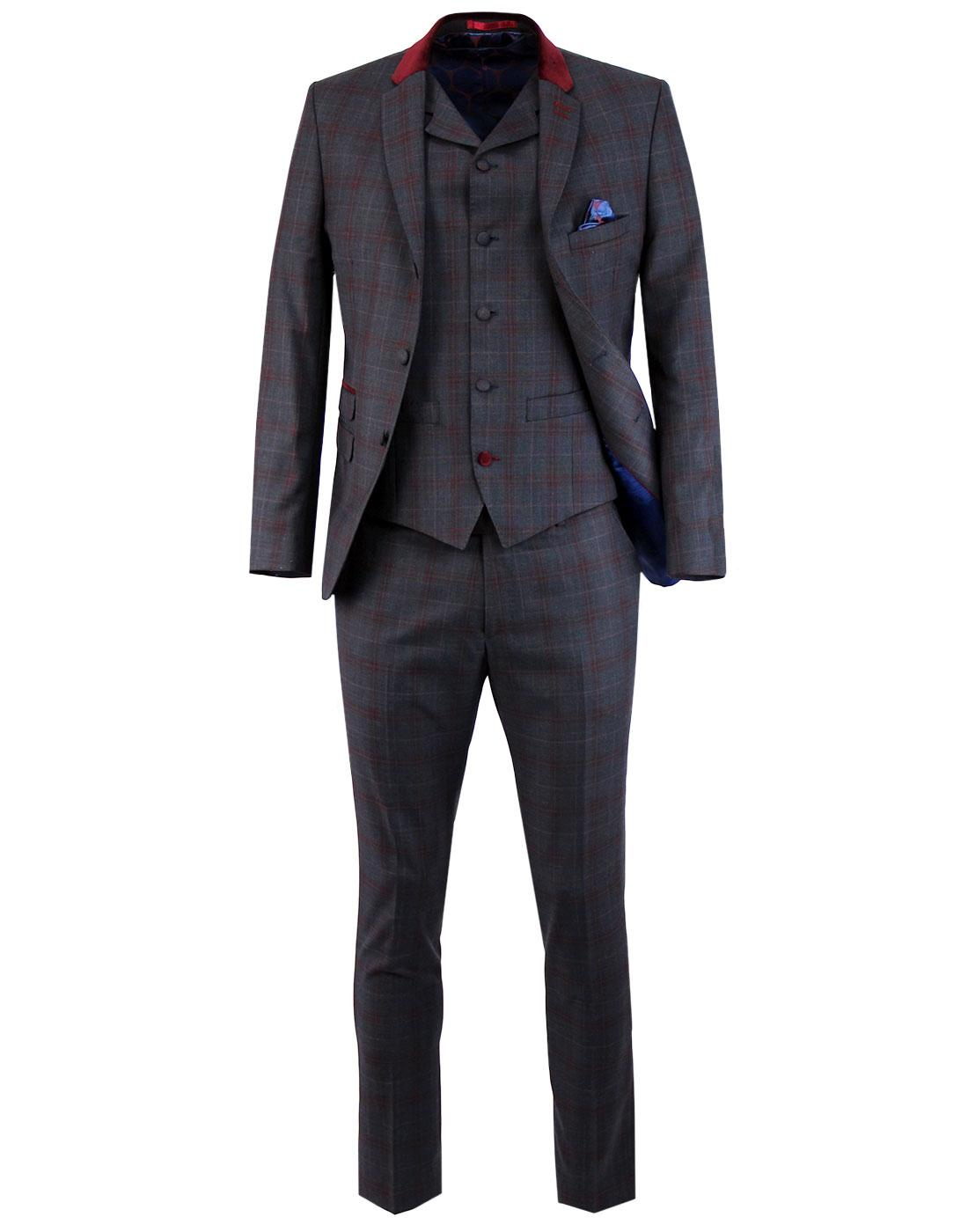 MADCAP ENGLAND Velvet Collar Plaid Check Mod Suit