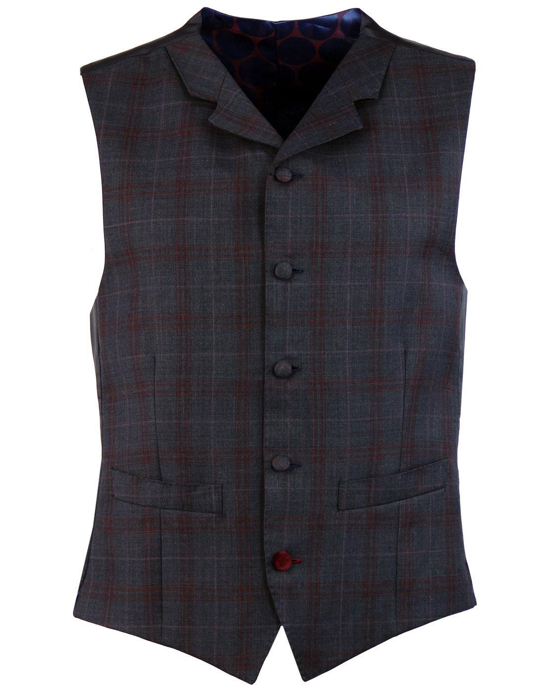 MADCAP ENGLAND 60s Mod Plaid Check Lapel Waistcoat