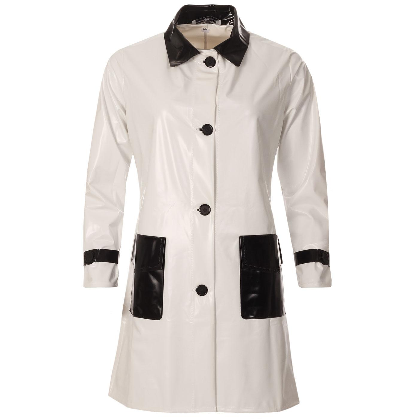 Robin MADCAP ENGLAND Mod 2 Tone PVC Raincoat (W/B)
