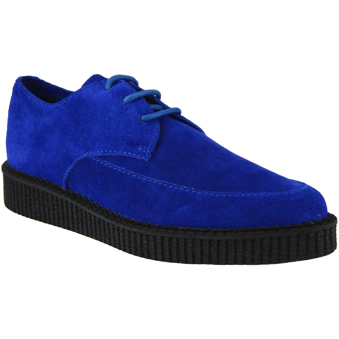 Stray Cat MADCAP ENGLAND Retro Blue Suede Creepers