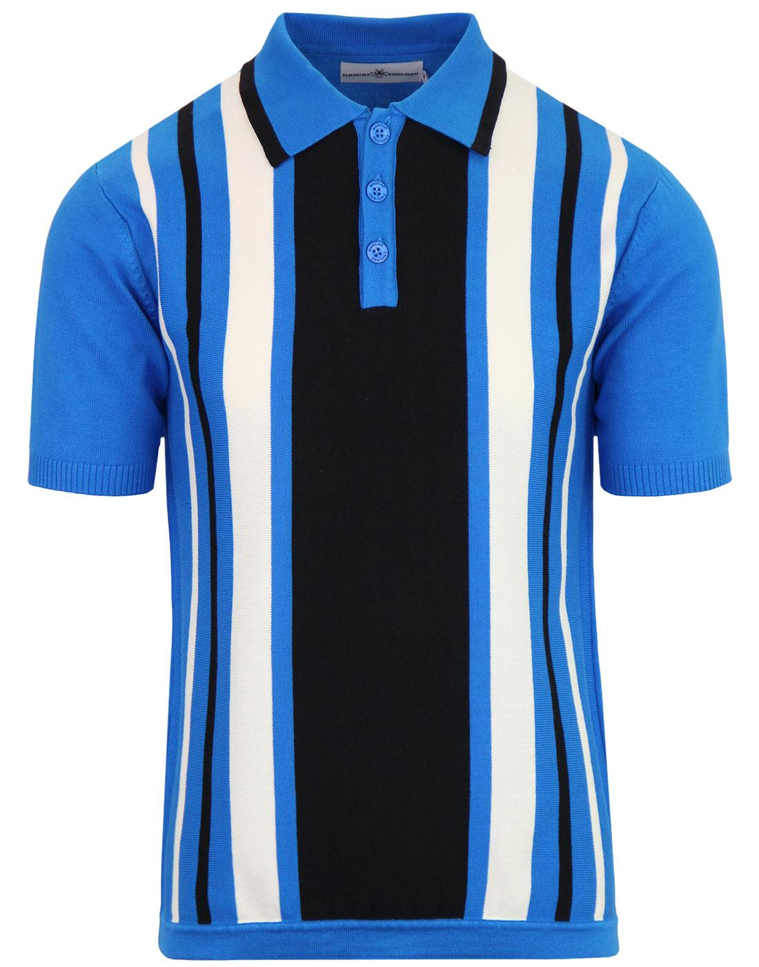 Folklore MADCAP ENGLAND Mod Stripe Knit Polo BLUE