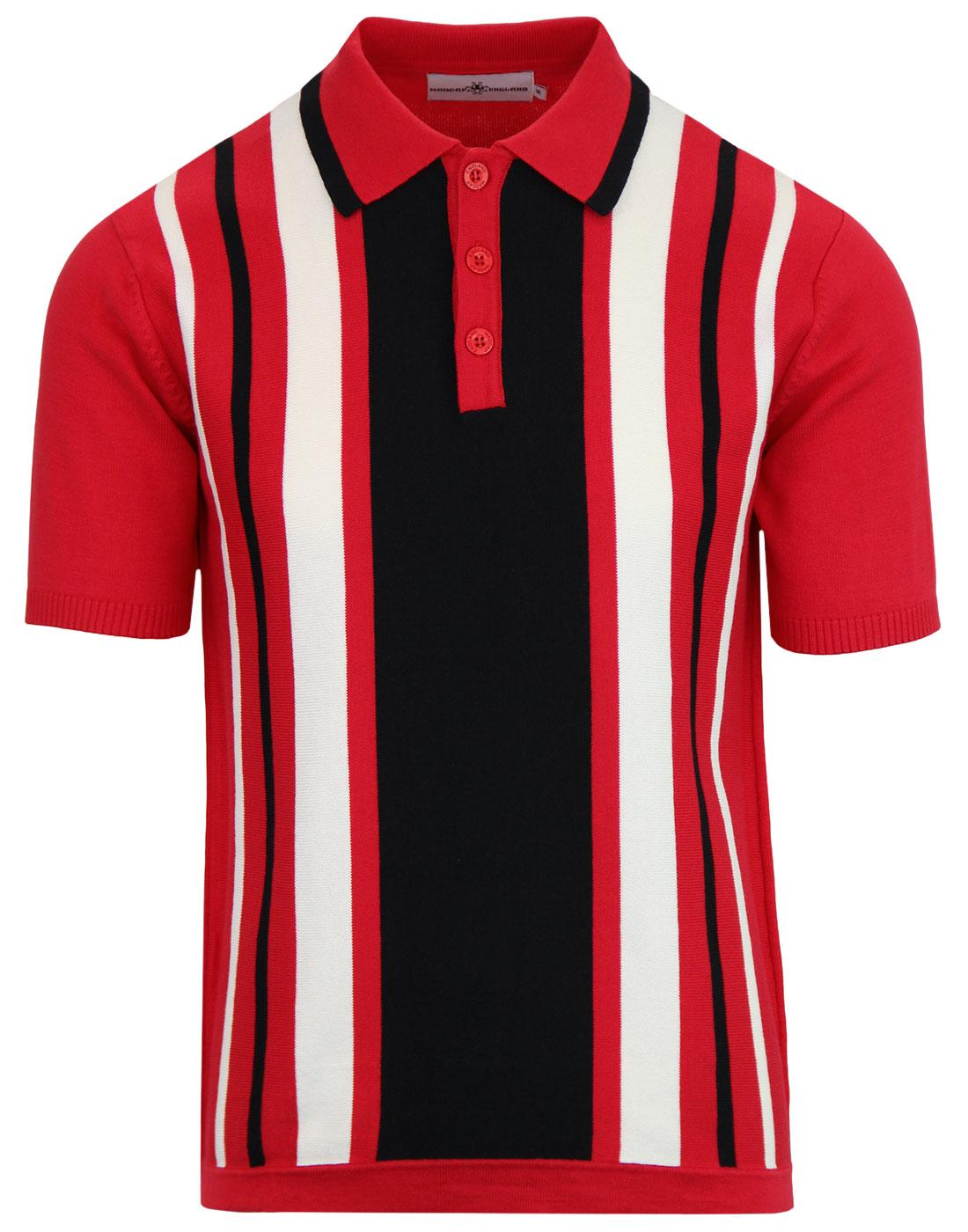 Folklore MADCAP ENGLAND Mod Stripe Knit Polo RED