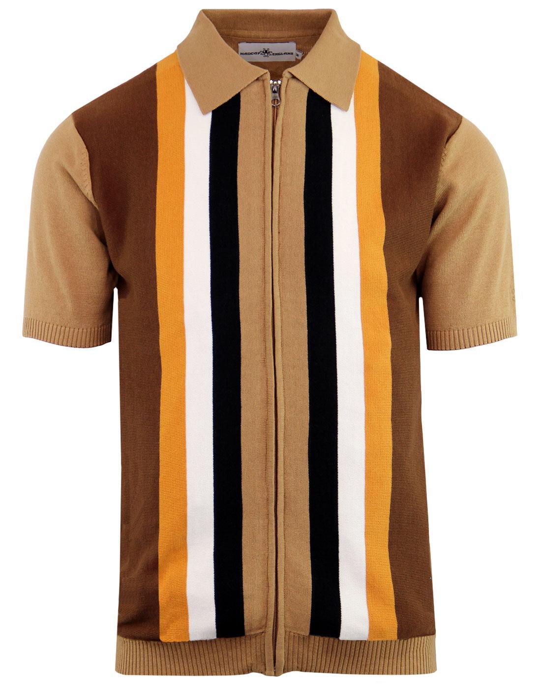 Victor MADCAP ENGLAND 60s Mod Stripe Zip Polo TAN