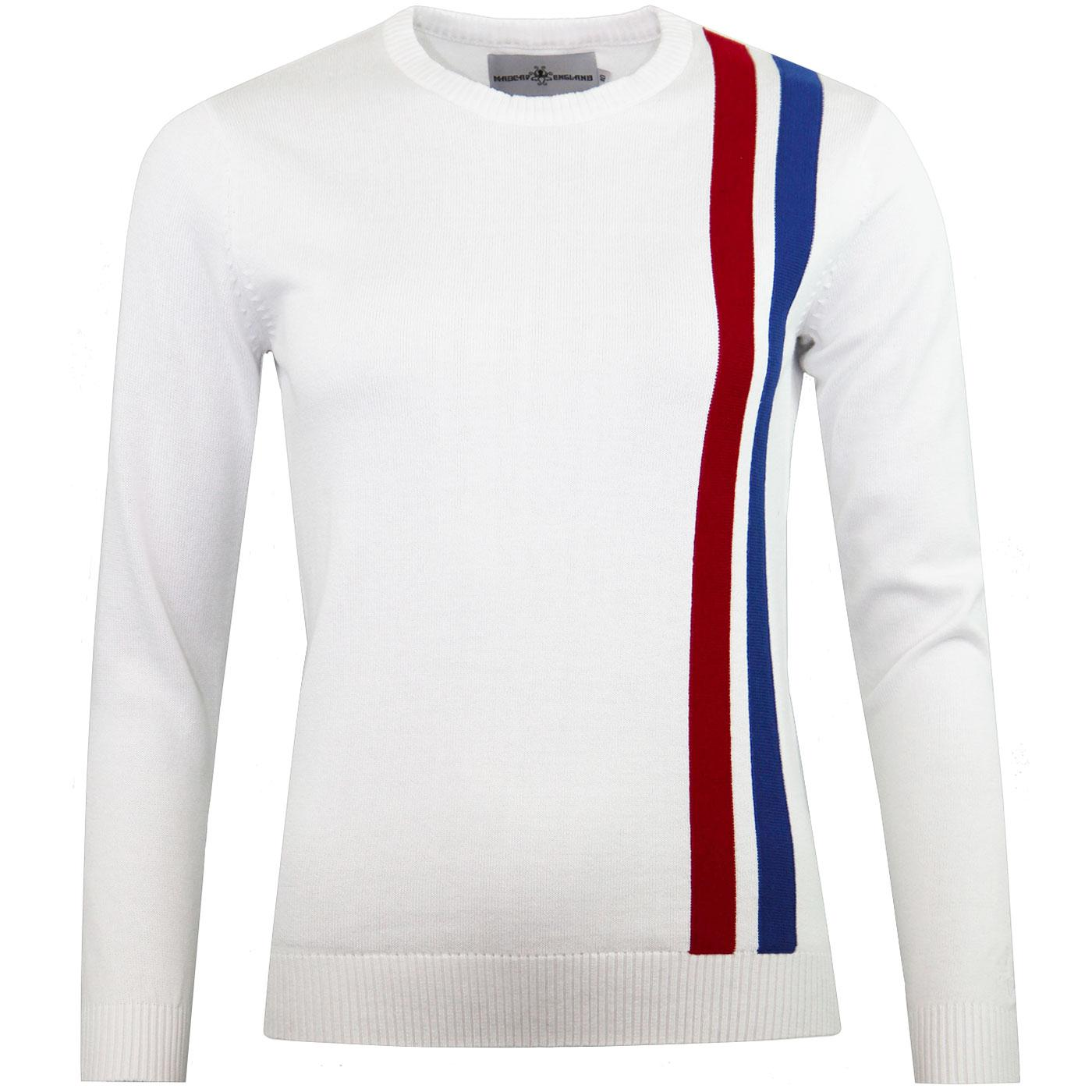 Madcap England 60s Mod Women's Racing Jumper WHITE