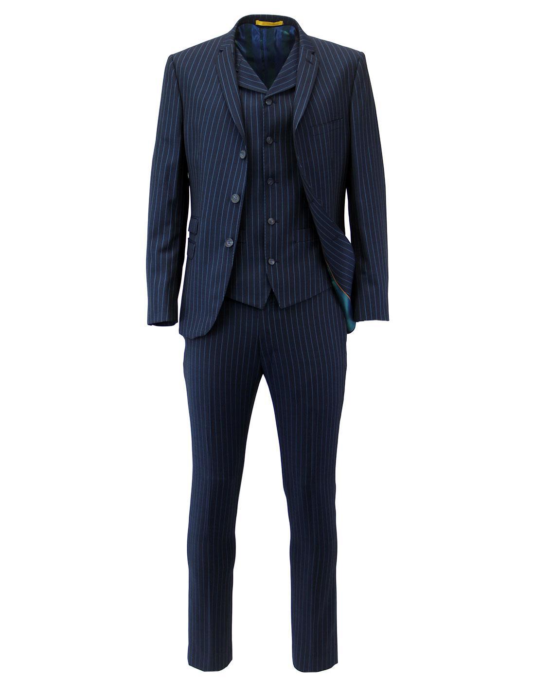 Madcap Retro Mod 3 Button Electric Pinstripe Suit