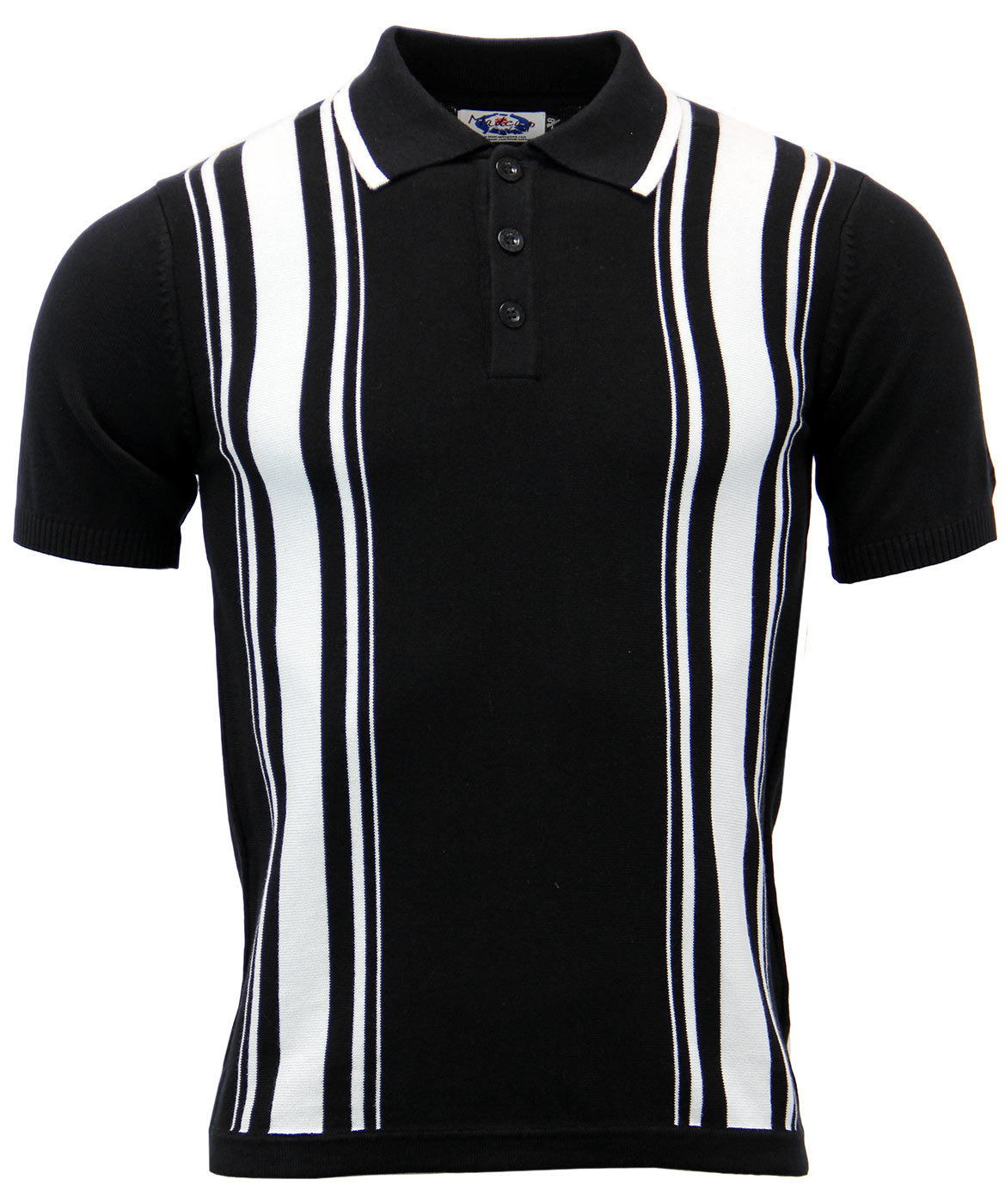 MADCAP ENGLAND Aftermath Retro 60s Mod Knitted Stripe Polo