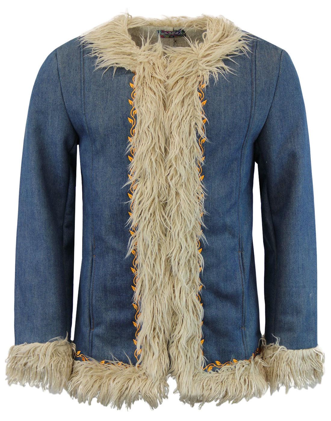 Walrus MADCAP ENGLAND Retro 60s Denim Afghan Coat