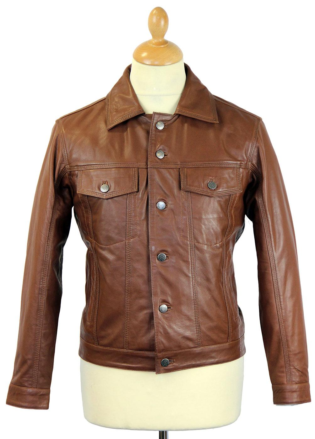 Badlands MADCAP ENGLAND Retro Leather Jacket BROWN