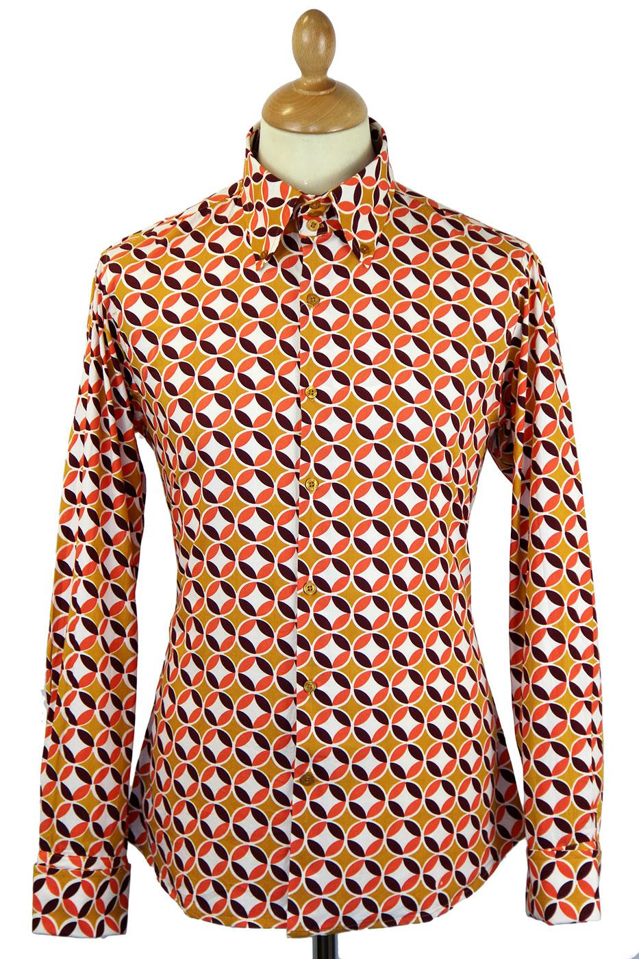 Sunset MADCAP ENGLAND 60s High Collar Mod Shirt M