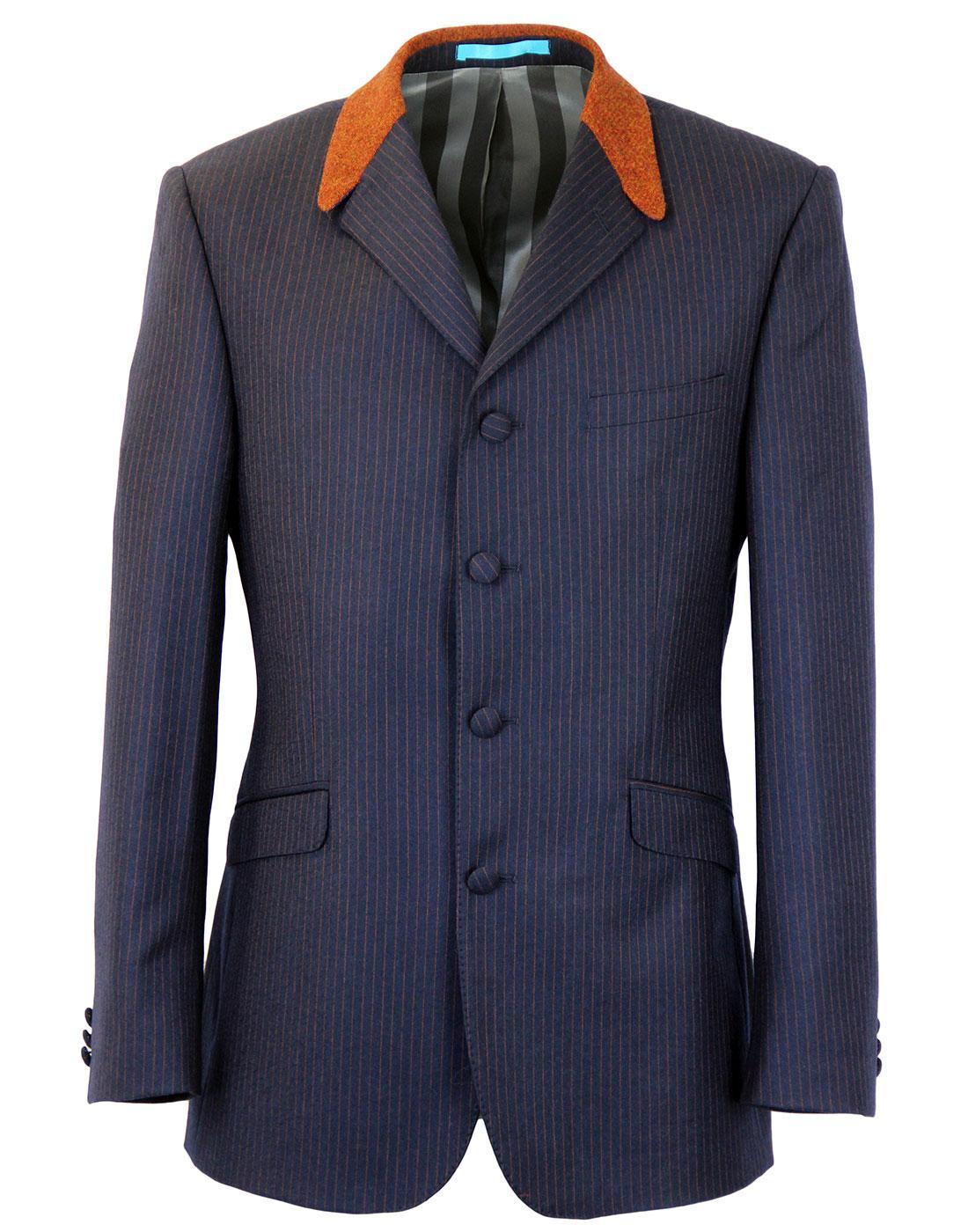 MADCAP ENGLAND 4 Button Flannel Stripe Suit Jacket