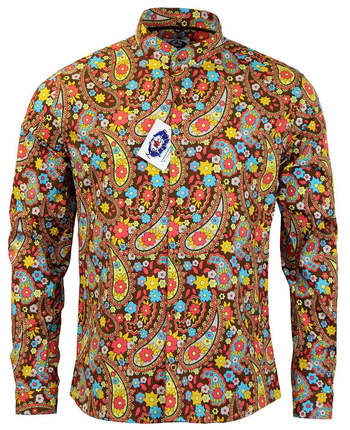 Madcap england indra paisley 60s mod grandad collar floral Mens grandad collar shirt