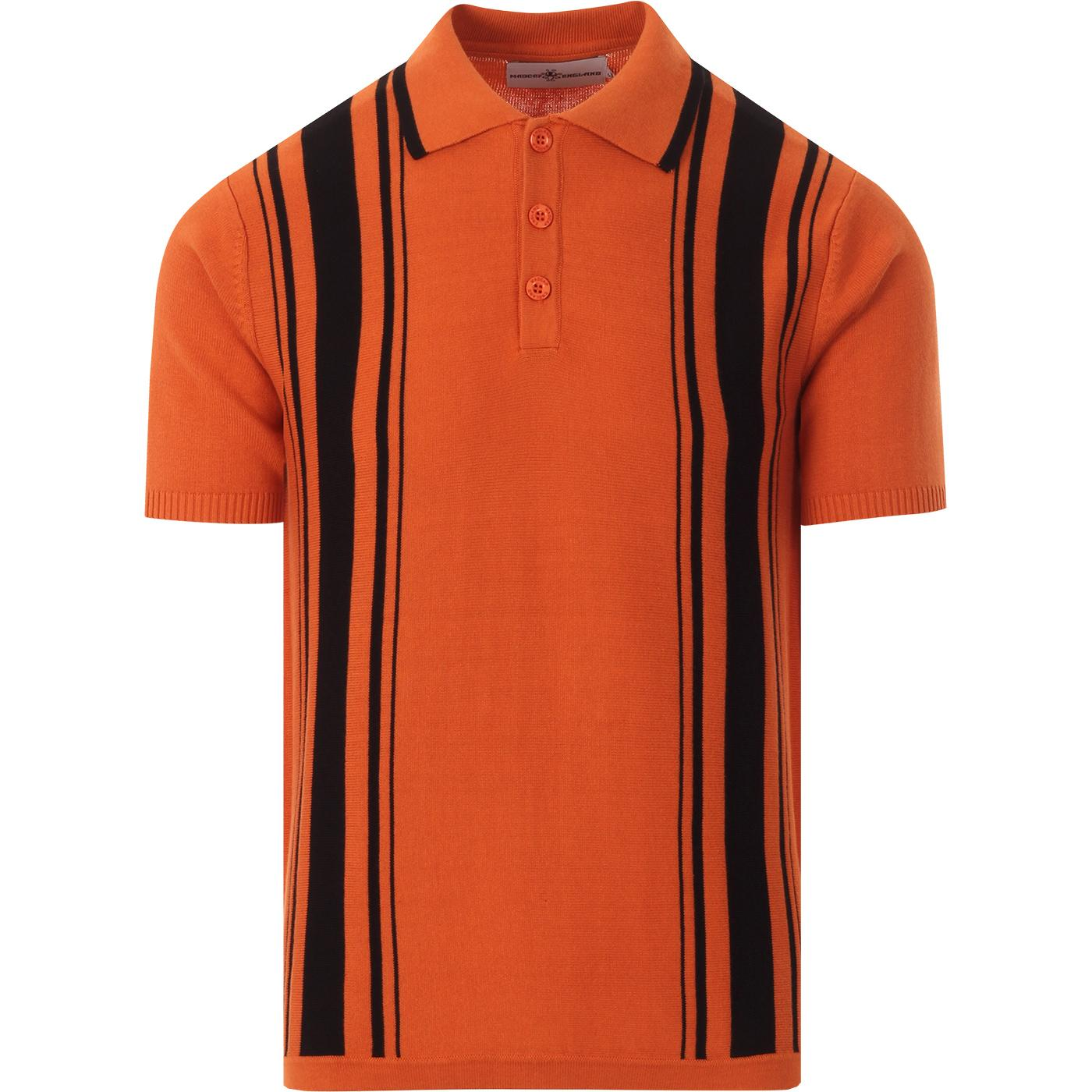Aftermath MADCAP ENGLAND Mod Stripe Knit Polo RUST