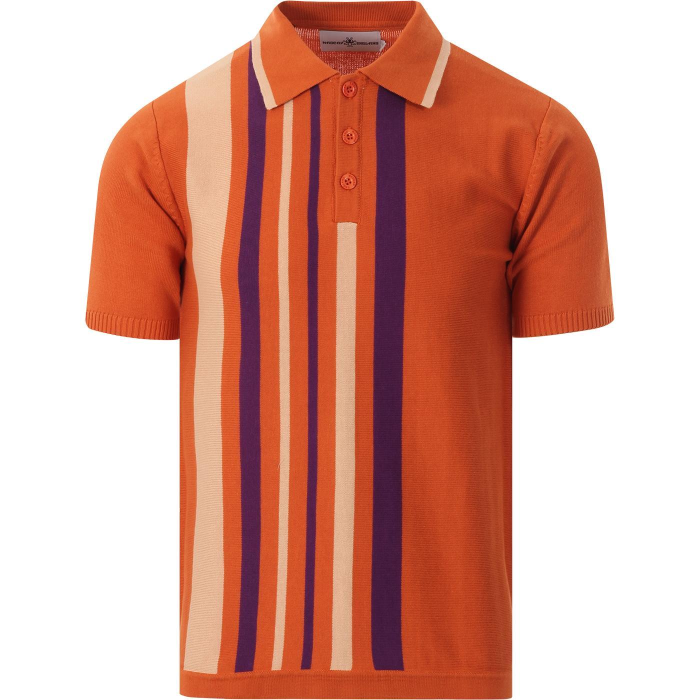 Bauhaus MADCAP ENGLAND Mod Stripe Knit Polo (Rust)