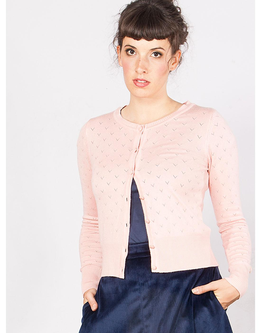 Lovelyn MADEMOISELLE YEYE Retro Cardigan in Blush