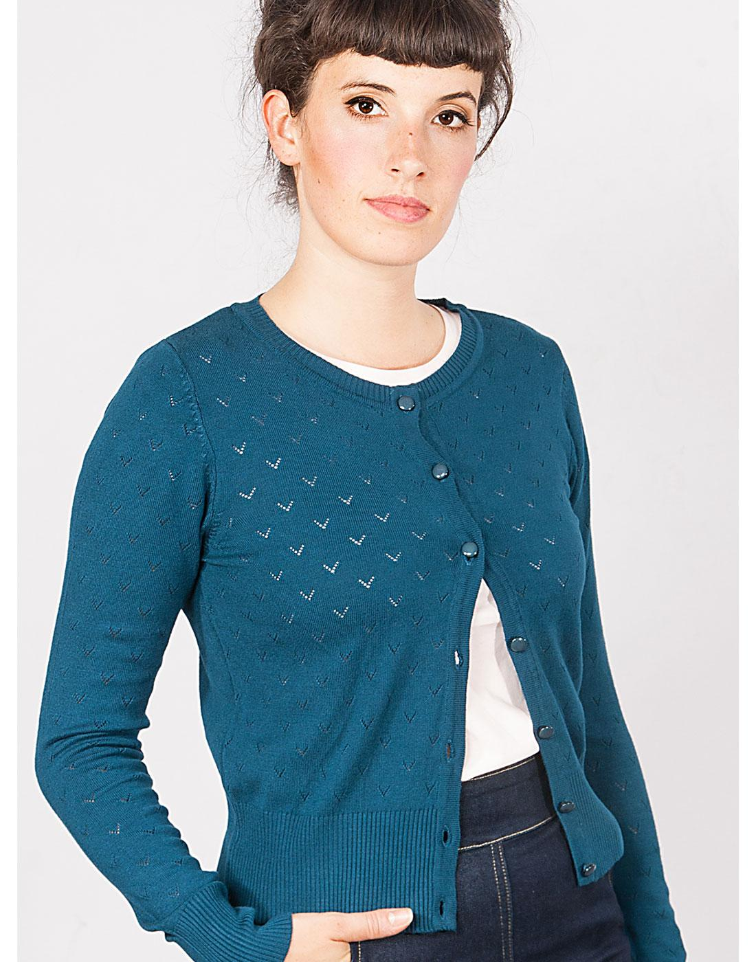 Lovelyn MADEMOISELLE YEYE Retro Cardigan in Teal