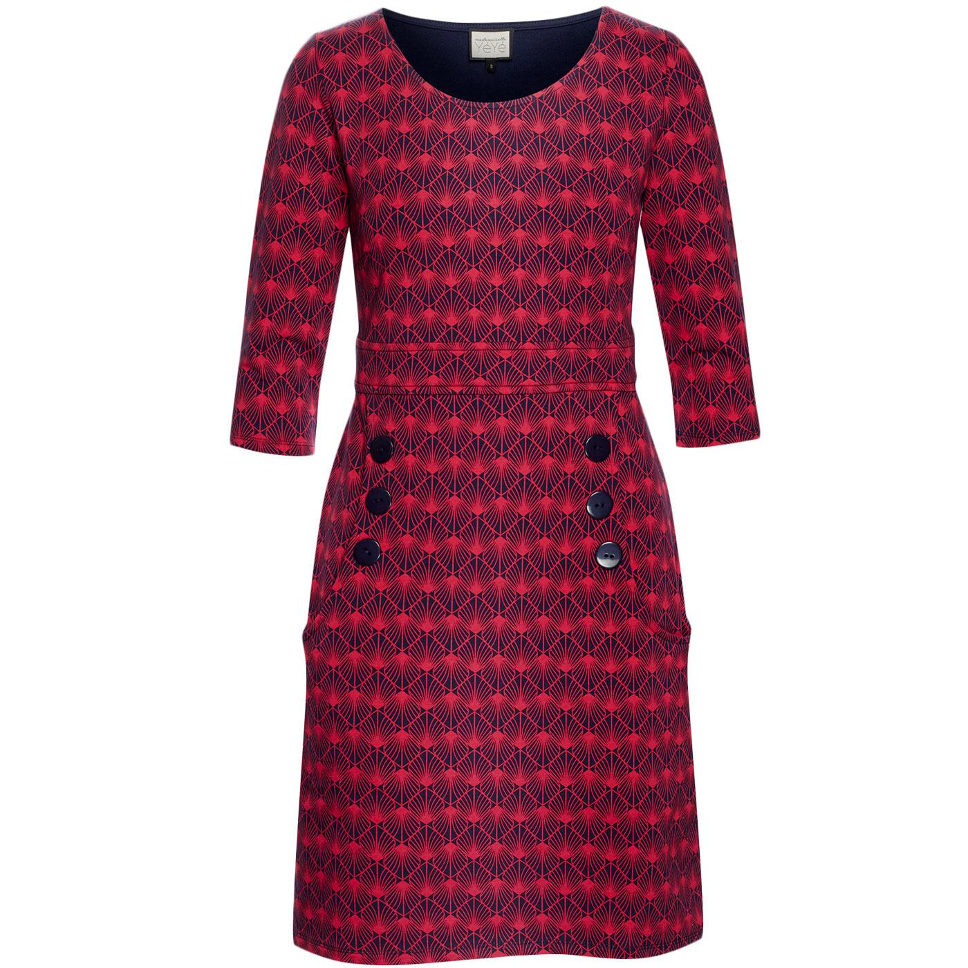 Oh my Lola MADEMOISELLE YEYE Printed 60s Dress RED