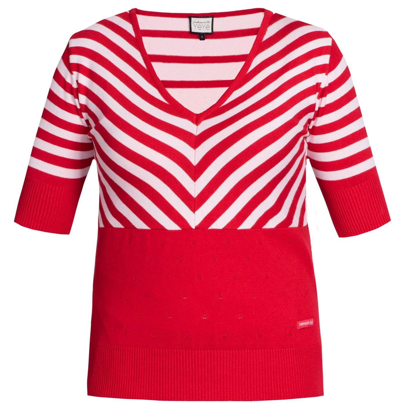 Stripes Lover MADEMOISELLE YEYE Retro 60s Top Red