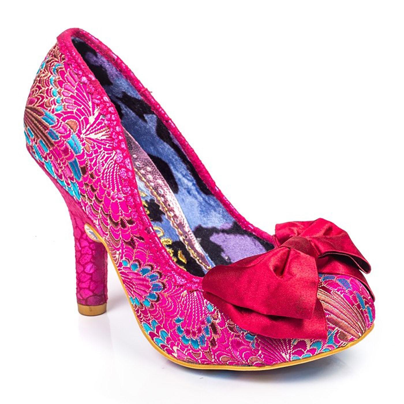 Mal E Bow IRREGULAR CHOICE Embroidered Heels PINK