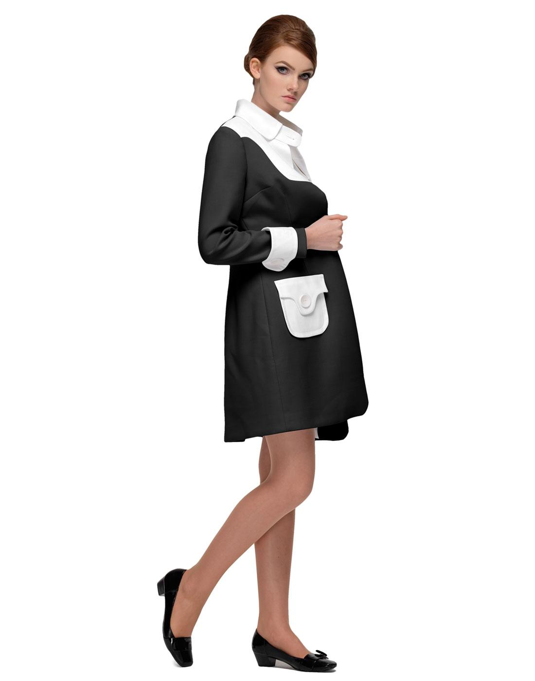 MARMALADE Retro 60s Mod Coat in Black