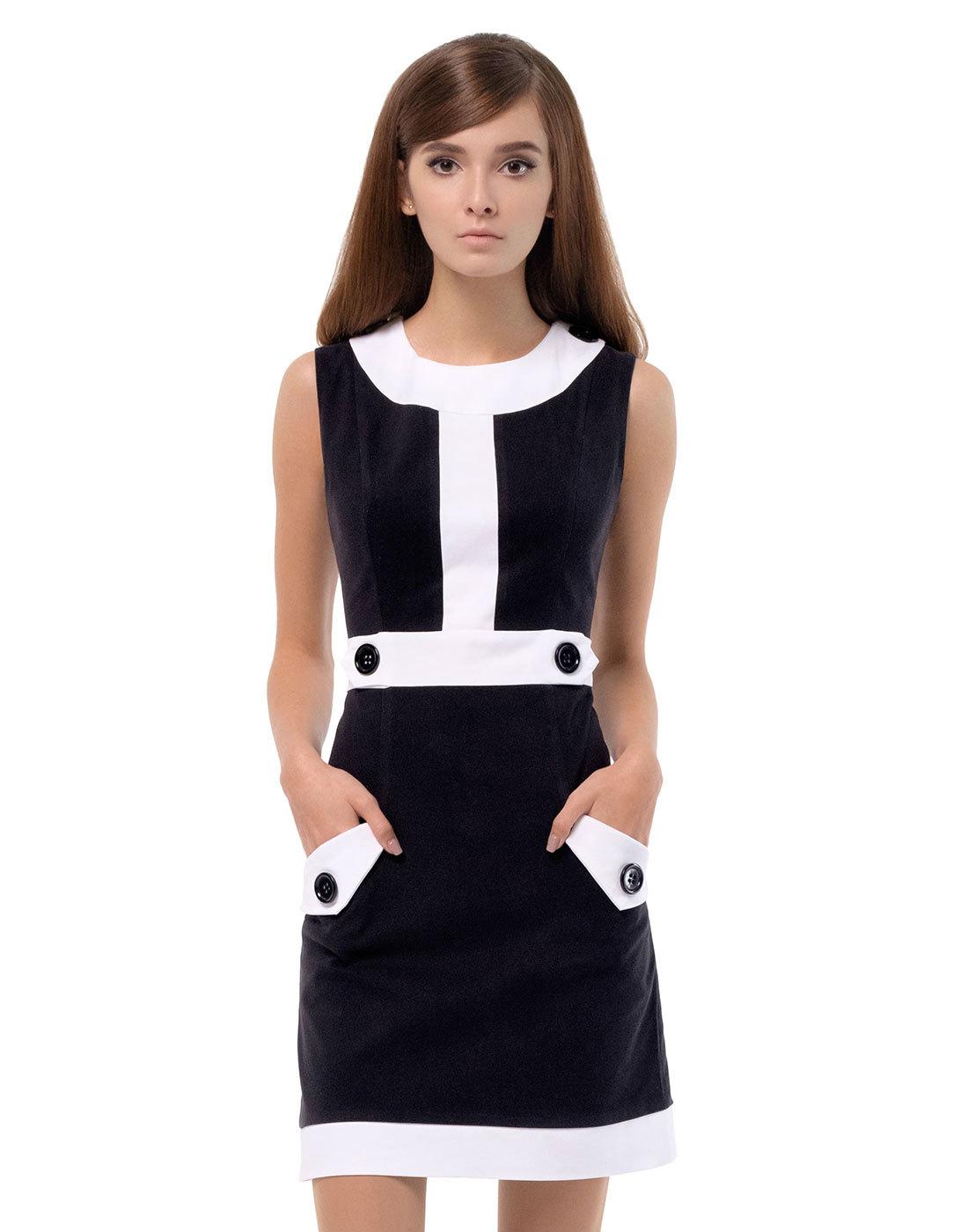 MARMALADE Retro 60s Mod Two-Tone A-Line Dress in Black/White