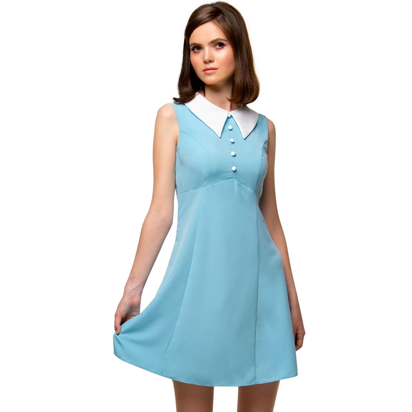 MARMALADE Retro 1960s Mod Big Collar Dress (Blue)
