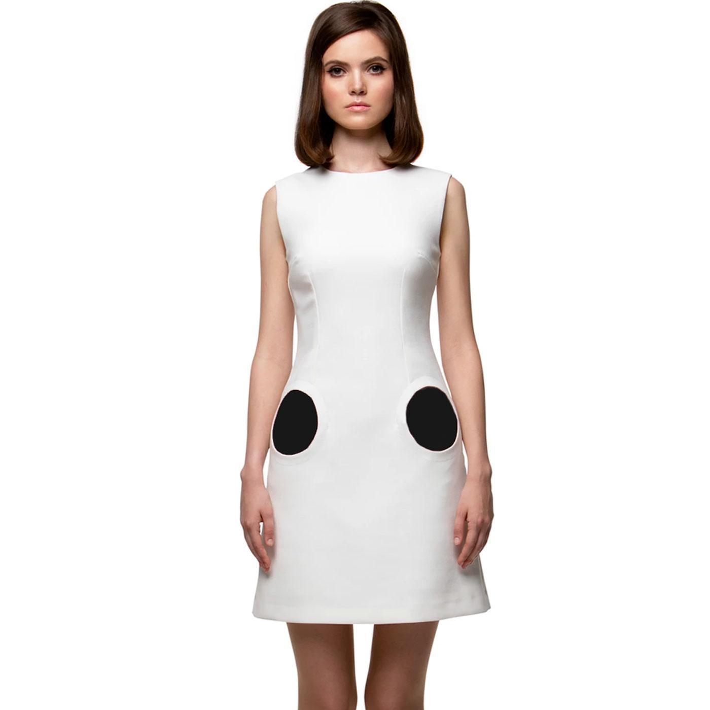 MARMALADE 1960s Mod Circle Pocket Dress (Cream)