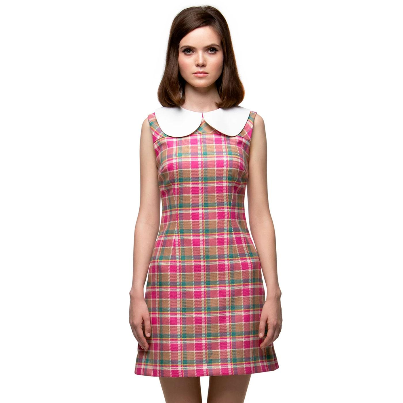 MARMALADE Mod Oversized Collar Plaid Check Dress